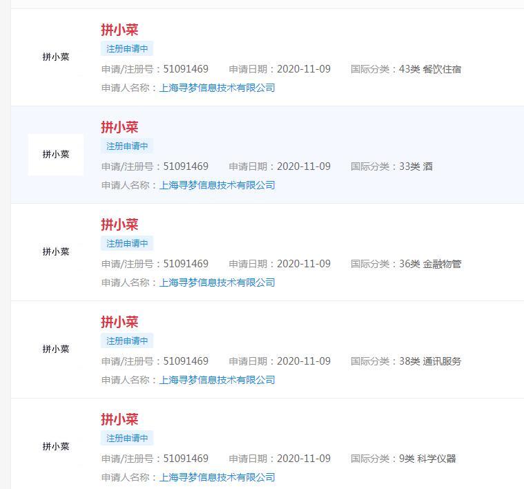 """拼多多申請""""拼小菜""""、""""拼優選""""等商標"""