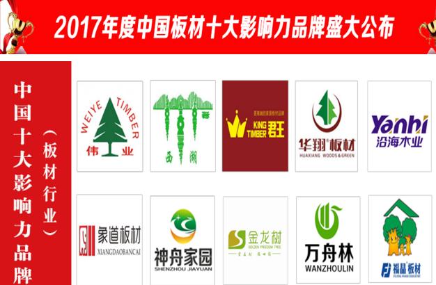 2017年度中国板材十大影响力品牌排行榜揭晓